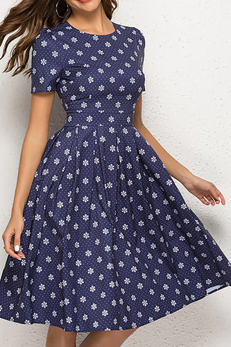 Retro Classic Short Sleeved Round Collar Print Skater Dress