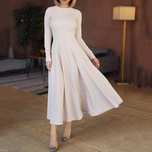 Load image into Gallery viewer, Elegant Round Collar Plain Slim Wide Skater Dress