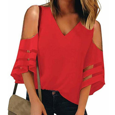 V-Neck Strapless Shoulder Patchwork blouses