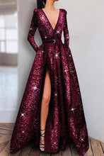 Load image into Gallery viewer, Shiny Plain Long Sleeve Evening Dresses