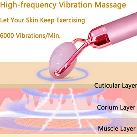 Contour Vibrating Facial Roller & Massager, Rose Quartz