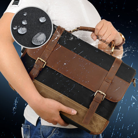Image of Genuine leatherCanvas Retro 14.9 inch computer bag