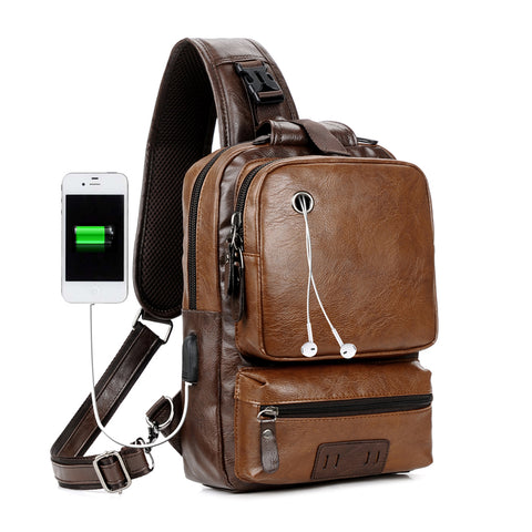 Image of Men Vintage PU Leather CrossBody Sling Bag Large Capacity Casual Backpack USB Charge