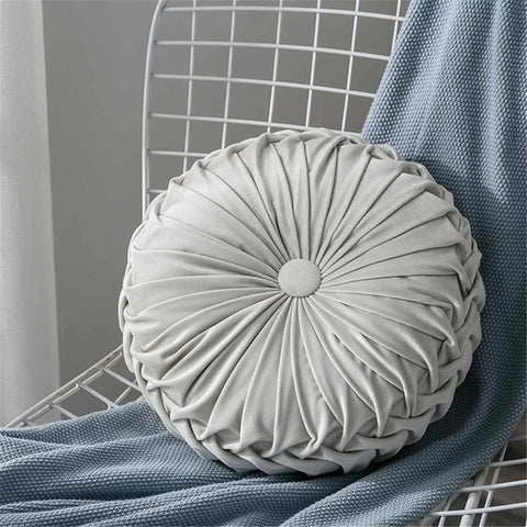 Round Shape Throw Pillow Cushion 35x8cm Seat Bed Sofa Pad Core Velvet Fabric Car Back Cushion Home Bedroom Decoration 4 Colors