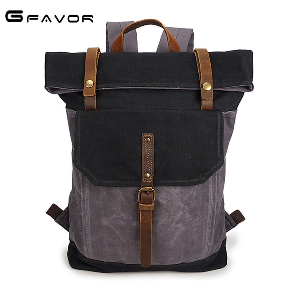 G-FAVOR Vintage Men's Laptop Backpack Belt Hasp Waterproof Shoulder Bag Canvas&Crazy Horse Leather 16 inch Casual Travel Bag Men