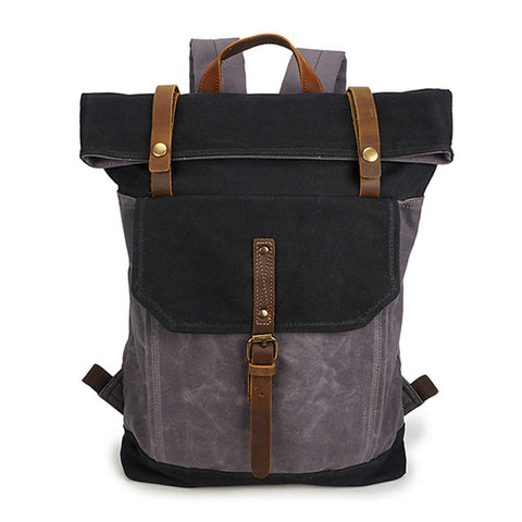 Image of G-FAVOR Vintage Men's Laptop Backpack Belt Hasp Waterproof Shoulder Bag Canvas&Crazy Horse Leather 16 inch Casual Travel Bag Men