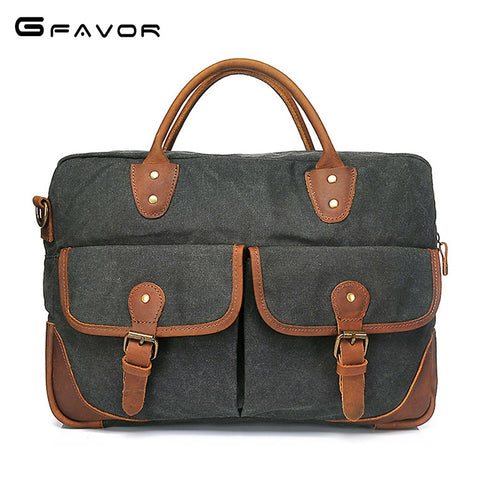 Image of G-FAVOR Retro Men's Briefcase Business Crazy Horse Leather&Canvas Handbag Men Computer Messenger Bags