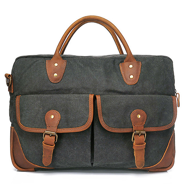 G-FAVOR Retro Men's Briefcase Business Crazy Horse Leather&Canvas Handbag Men Computer Messenger Bags