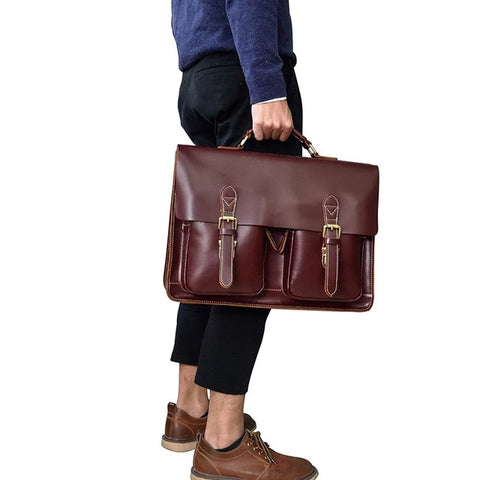 "Image of Vintage Men's Genuine Leather briefcase 16"" Cowhide Business bag Cow leather Laptop Double Layer messenger bag PC work tote"