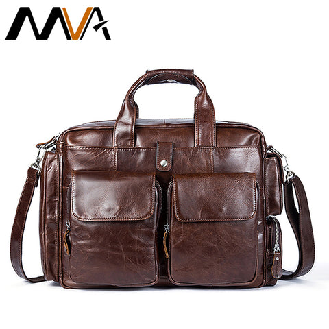 MVA Business Mens Briefcases Genuine Leather Laptop Bags Messenger Bag Men Shoulder Bags for document leather bag Man briefcase