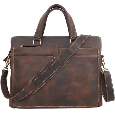 "Image of Vintage Fashion Brand Designer Crazy Horse Leather Men Handbags 14"" Laptop Shoulder Bag Genuine Leather Casual Men Briefcase"
