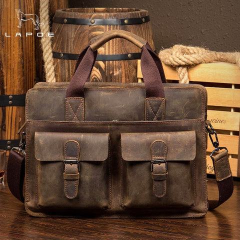 "Image of LAPOE Vintage Crazy Horse Briefcases Men Genuine Leather Messenger Bags 14"" Laptop Handbags Cow Leather Business Bag"