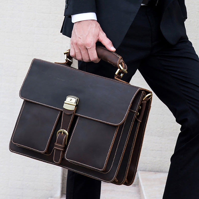 "Vintage Men's Genuine Leather briefcase 16"" Cowhide Business bag Cow leather Laptop Double Layer messenger bag PC work tote"