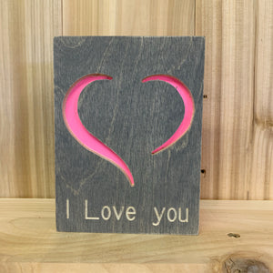 Wooden I Love You Card