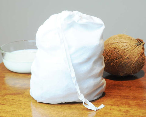 Cotton Bag for Straining Coconut Pulp to Extract Coconut Milk