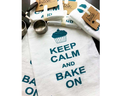 Keep Calm and Bake On Dish Towel