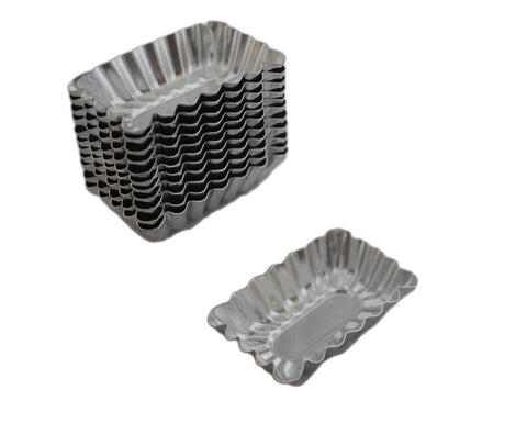 Mini Rectangular Shaped Petit Fours Tartlet Baking Pans, Set of 12