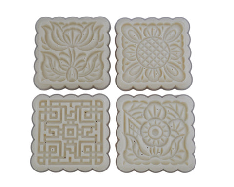 Square Mooncake Mold with 4 Pattern Plates