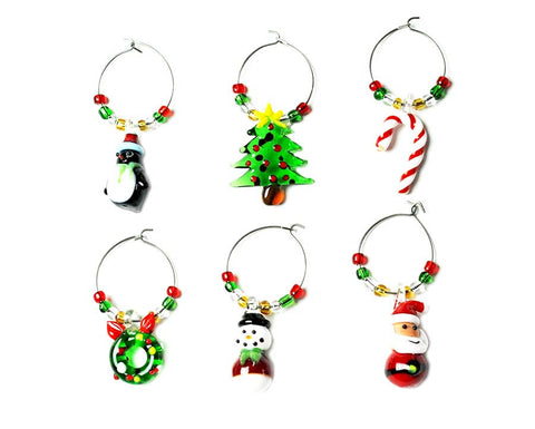 Christmas Wine Charms- Set of Six