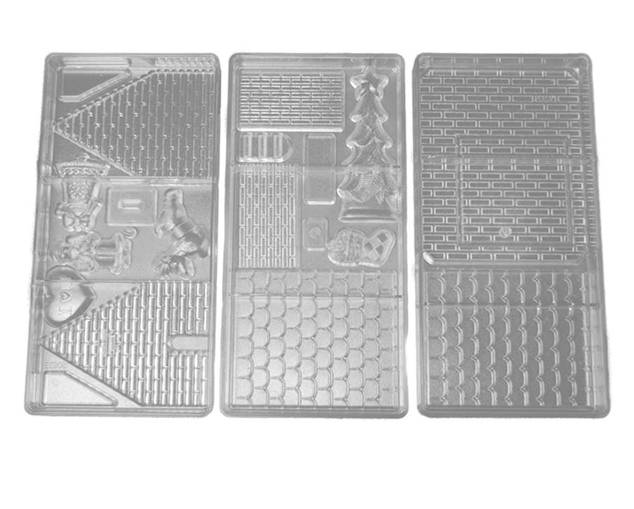 polycarbonate chocolate candy mold gingerbread house christmas chocolate house chocolate mold set of 3 - Christmas Candy Molds