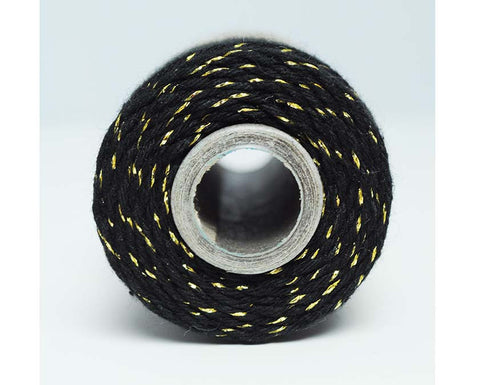 Glitter Twine- Midnight Black Cotton Twisted with Gold Metallic Foil