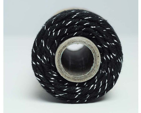 Glitter Twine- Midnight Black Cotton Twisted with Silver Metallic Foil