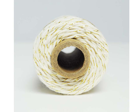 Glitter Twine- Natural Cotton Twisted with Gold Metallic Foil