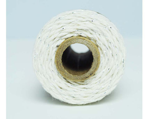 Glitter Twine- Natural Cotton Twisted with Silver Metallic Foil