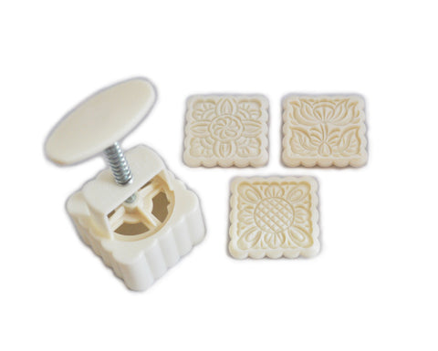 Square Mooncake Mold with 3 Pattern Plates