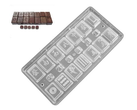 Professional Polycarbonate Chocolate & Candy Mold- Mahjong Solitaire Tiles with Dice