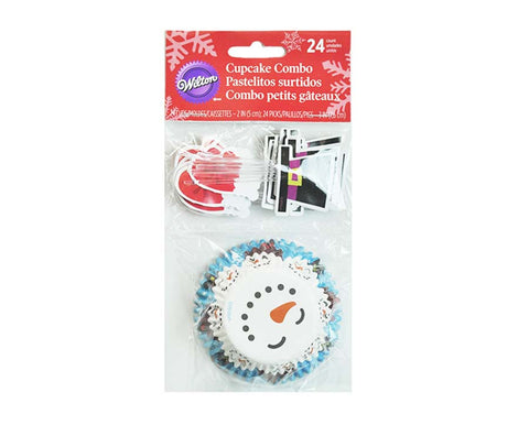 Merry & Sweet Cupcake Liners with Cake Toppers Combo Kit by Wilton, 24 Count