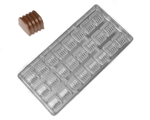 Polycarbonate Chocolate & Candy Mold- Ridged Cylinder Chocolate Mold