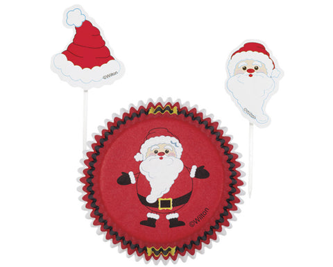 Santa Claus Cupcake Liners with Cake Toppers Combo Kit By Wilton
