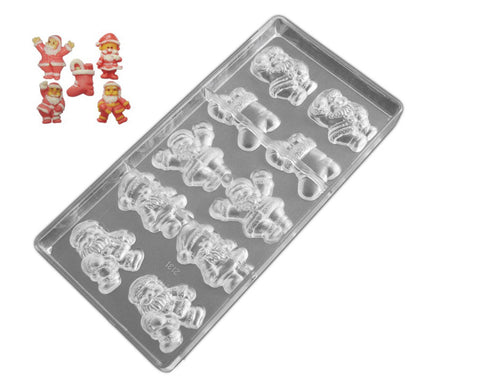 Professional Polycarbonate Chocolate & Candy Mold- Santa Claus & Stocking
