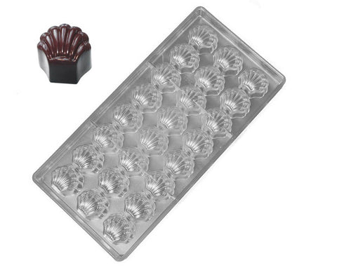 Polycarbonate Chocolate & Candy Mold- Scalloped Seashell Chocolate Mold