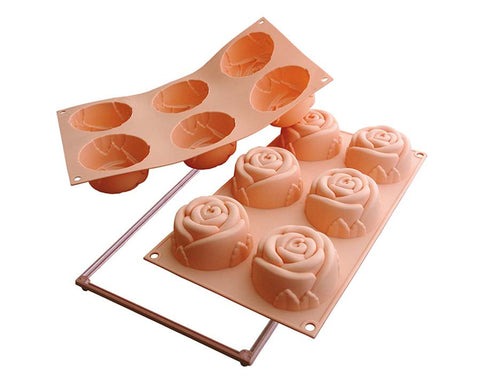 Silikomart Medium Sized Rose Silicone Mold Peach