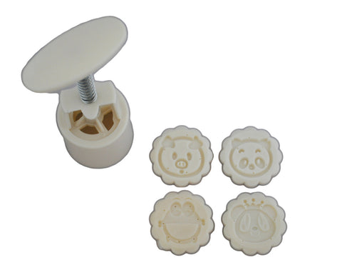 Mini Round Mooncake Mold with 4 Pattern Plates