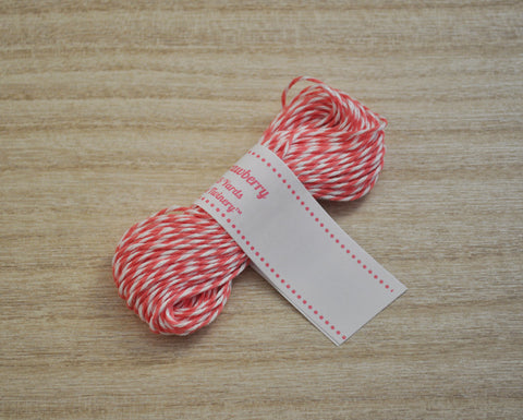 Strawberry- Pinkish Coral & White Eco-Luxe Baker's Twine Sampler