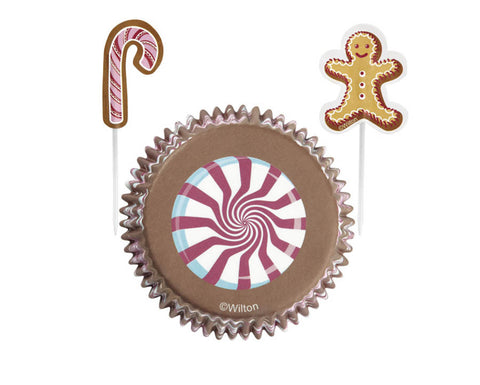 Gingerbread Man Candy Cupcake Liners with Cake Toppers Combo Kit by Wilton