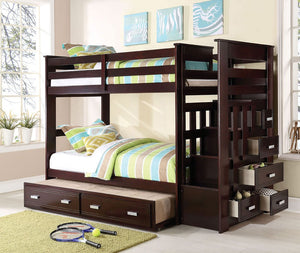 Allentown Twin Bunk Bed w/ Trundle (Espresso)