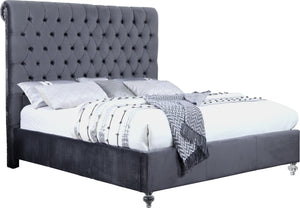 Thomas Grey Velvet Button Tufted Bed