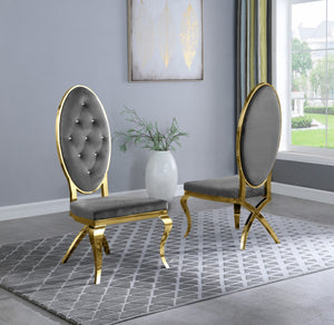 Madelyn Dining Chairs in Grey with Gold Legs