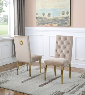 Maverick Dining Chairs in Beige with Gold Legs