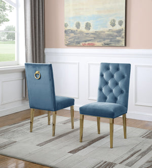 Maverick Dining Chairs in Blue with Gold Legs