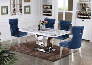 George White Marble Table Dining Collection With Blue Chairs