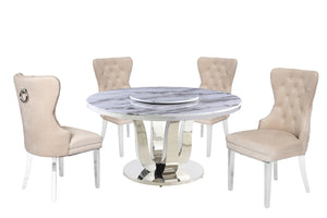 Alan White Marble Table Dining Collection With Cream Chairs