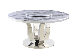 Nicolas White Marble Table Dining Collection With White Chairs