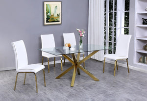 Ace Glass Gold Dining Table with White Chairs