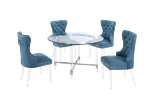 Joaquin Acrylic Dining Set with Blue Chairs