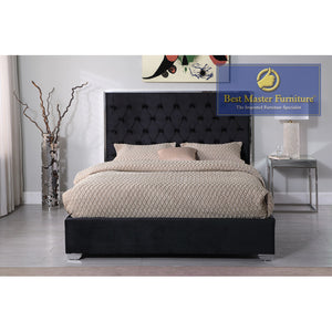 Kressa Upholstered Velour Bed In Black with Silver Hardware
